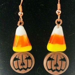 Halloween Pumpkins JackOLantern Candy Corn Earring